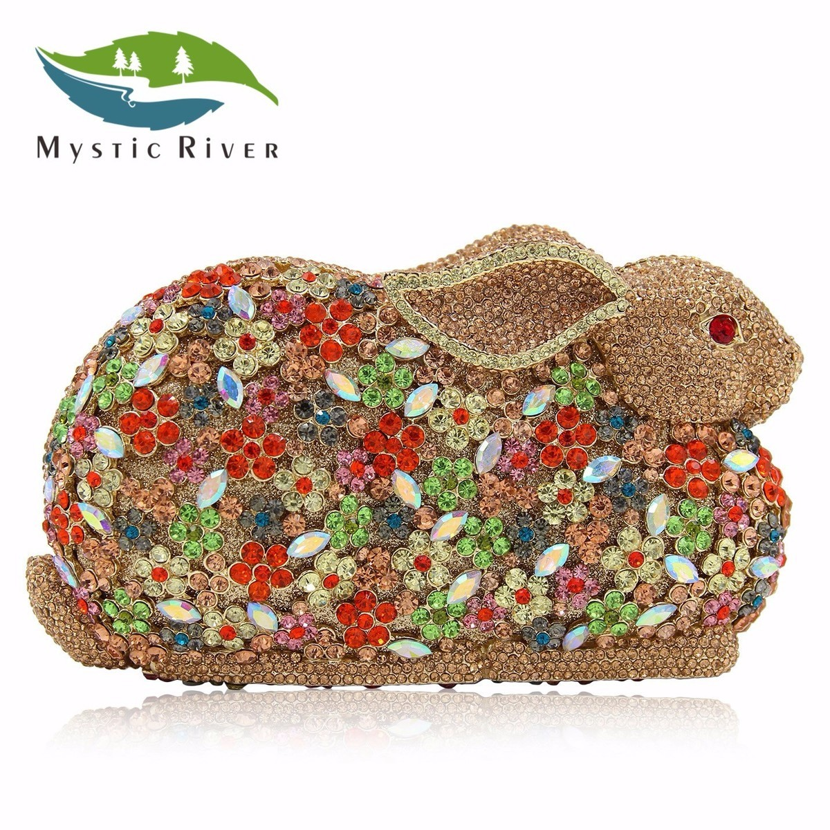 Mystic River Women Luxury Crystal Rabbit Shape Evening Bags Wedding Clutches Party Purses Suede With Shoulder Chain mystic river designer pearl bags circle shape beaded clutches women wedding bag with chain lady evening clutch purse