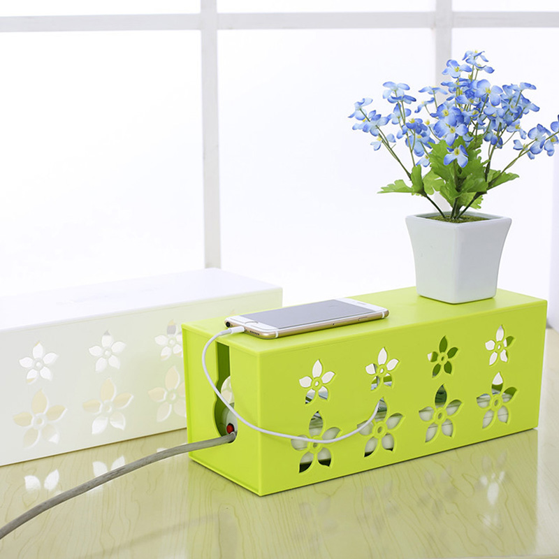 4 Color Kitchen Storage Containers Storage Box Plastic Food Box Power Socket Case Hollow Wire Cord Safety Tidy Organizer