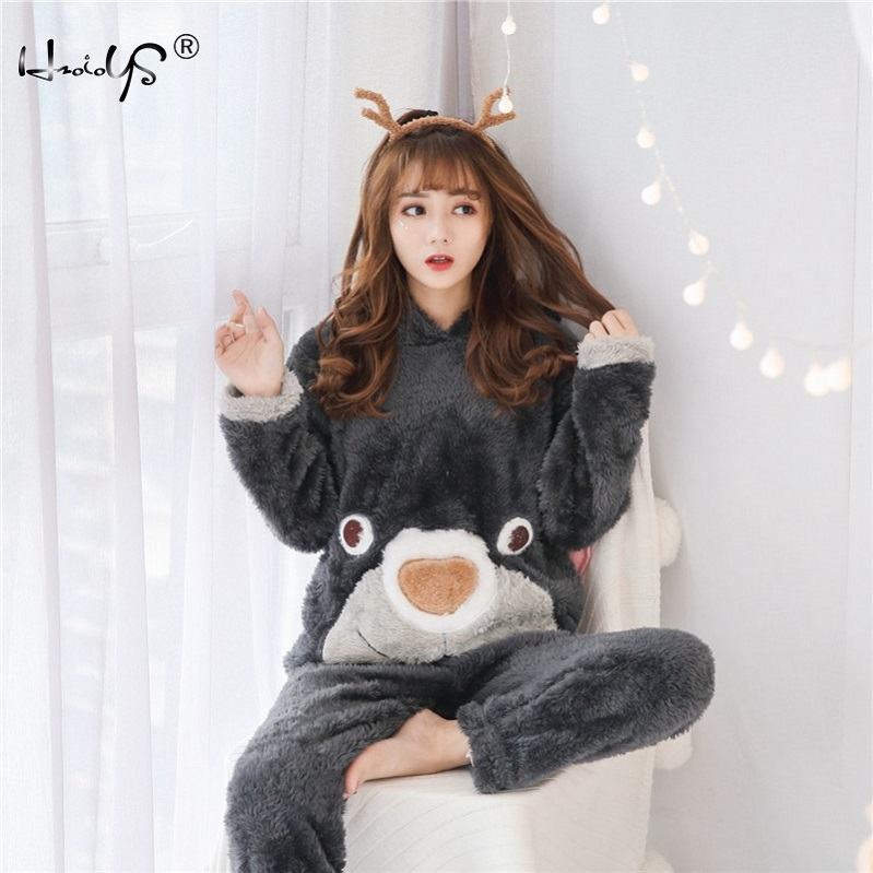 Dropwow 2018 New Autumn Winter Women Flannel Pajamas Set Bear Hooded ... 110d588a3