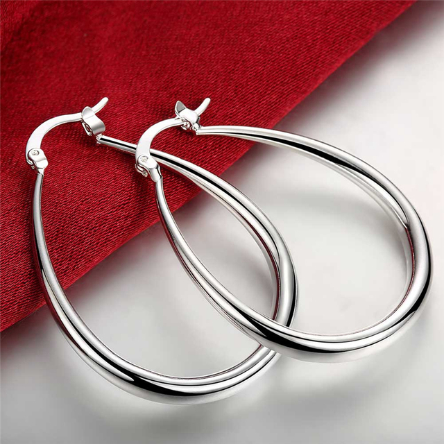925 Sterling Silver Jewelry Smooth Circle Solid Hoop Earrings For Women Best Gift Whole High