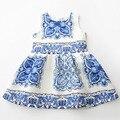 Novo Estilo Floral Do Vintage Vestidos Sem Mangas Azul & Branco Da Porcelana Vestido 2016 Moda Flor Meninas Vestem a Roupa Dos Miúdos Por Atacado