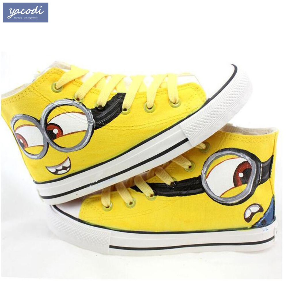 Children Canvas Shoes 2017 Hand Painted Boys Girls Canvas Sport Shoes Despicable Me Cartoon Casual Kid Sneakers Size 26~35 2016 new cartoon anime figure despicable me 2 minion shoes couples hand painted canvas shoes women men casual shoes big size 10