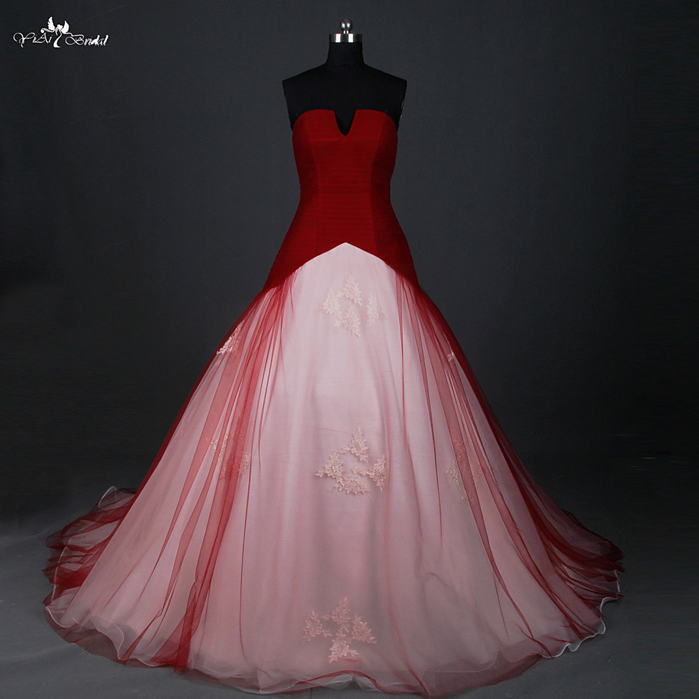 Red And White Lace Wedding Dress: RSW884 Red Wedding Dress Ball Gown Small Open V Neck Cheap
