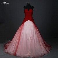 Rsw884 красный свадебное платье бальное платье Малый открытым V Средства ухода за кожей шеи Дешевые красный и белый Свадебные платья Robe Mariage