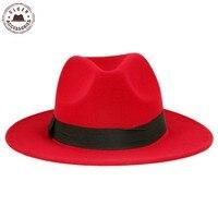 Vintage Unisex Wool Jazz Hats Large Brim Felt Cloche Cowboy Panama Fedora Hat For Women Black