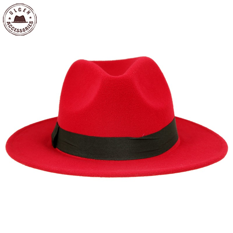 15531e53191 Vintage unisex wool Jazz hats large brim felt cloche cowboy panama fedora  hat for women black red trilby derby fedoras -in Fedoras from Apparel  Accessories ...