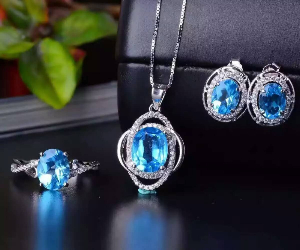 Natural blue topaz gem jewelry sets natural gemstone ring Pendant Earrings 925 silver Stylish Elegant round women party jewelry цена