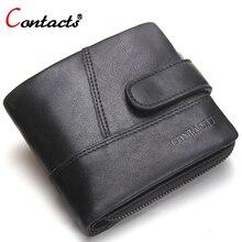 CONTACT'S Echtem Leder Männer Brieftasche Kartenhalter Zipp Kleine Kupplung Taschen Geldbörse Organizer Dollar Preis kurze Walet Geldbeutel