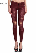RenYvtil New 2017 Autumn Vintage Burgundy Sexy Ripped Holes Women Pencil Stretch Denim Pants High Waist Skinny Trousers Jeans