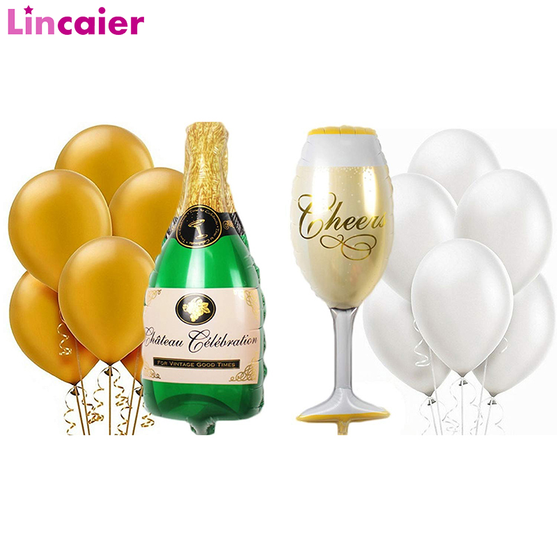 1set Giant Champagne Bottle Wine Glass Ballon Wedding Graduation 2019 Party <font><b>Decoration</b></font> Just Married 30th 40th <font><b>50th</b></font> 60th <font><b>Birthday</b></font> image