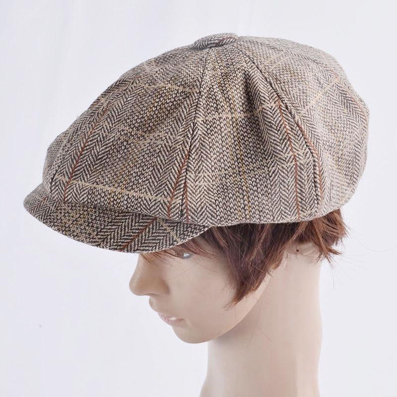 Men Beret Hat Gentleman Octagonal Cap Winter Spring Tweed Wool Newsboy Caps Plaid Man Beret 2