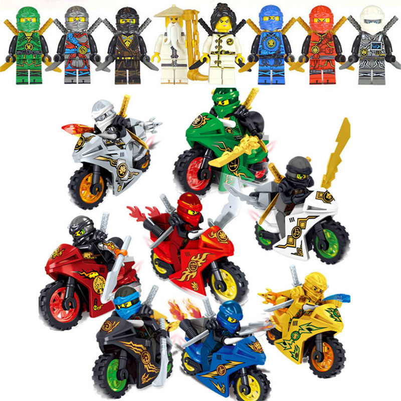8pcs Hot Ninja Motorcycle Building Blocks Bricks Toys Compatible Ninjagoed Ninja Bricks For Kids Gifts