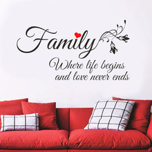 Family quotes wall decal Where Life Begins And Love Never Ends Quotes vinyl Stickers Home Decor Living Room Wallpaper Art 3Q17