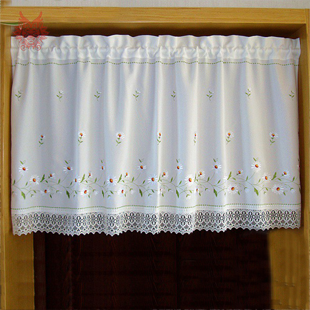 New fashion white with floral embroidery half curtain lace decor bay ...