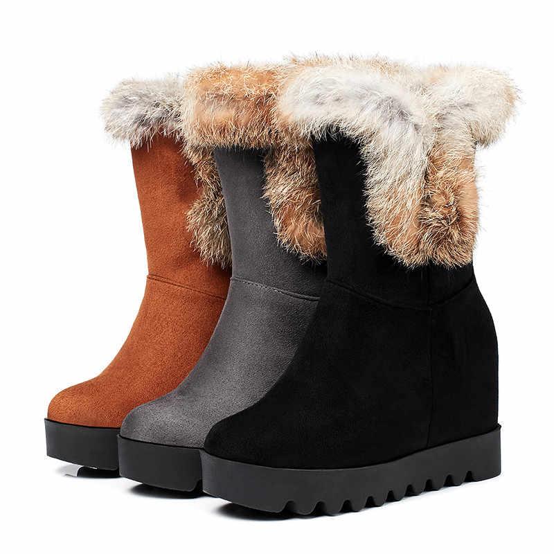 Odetina nueva moda mujer botas de nieve de piel de conejo plataforma tacón oculto cuña botas de invierno zapatos gruesos de felpa de gran tamaño 43