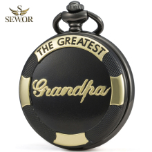 SEWOR Luxury Brand Mens 2019 Necklace Quartz Pocket Watch Reflective Color Dial Black & Golden Case Grandpa Memorial C246
