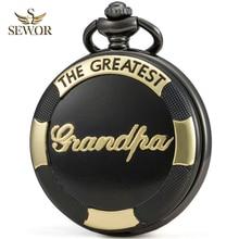 SEWOR Luxury Brand Mens 2019 Necklace Quartz Pocket Watch Reflective Color Dial Black & Golden Case Grandpa Memorial Watch C246