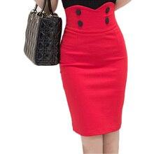 Женщины Кнопка Высокая талия юбка-карандаш модель разрез сзади один темп юбки женские мини эластичный хлопок офисные Упаковка Saia красный