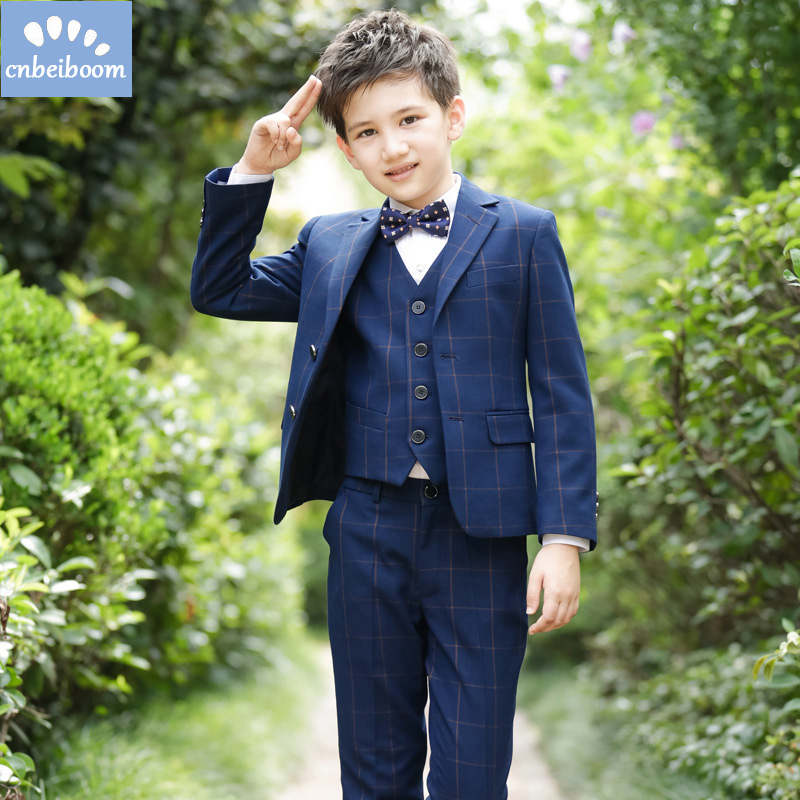 Suit for Boy Children Baby Blazer Formal Boys Weddings Suits Kids Prom Boys grid Clothes sets 5 pieces Children Classic Costume 2017 new children suit baby boys suits kids blazer boys formal suit for wedding boys clothes blazer pants 2pcs 3 12y