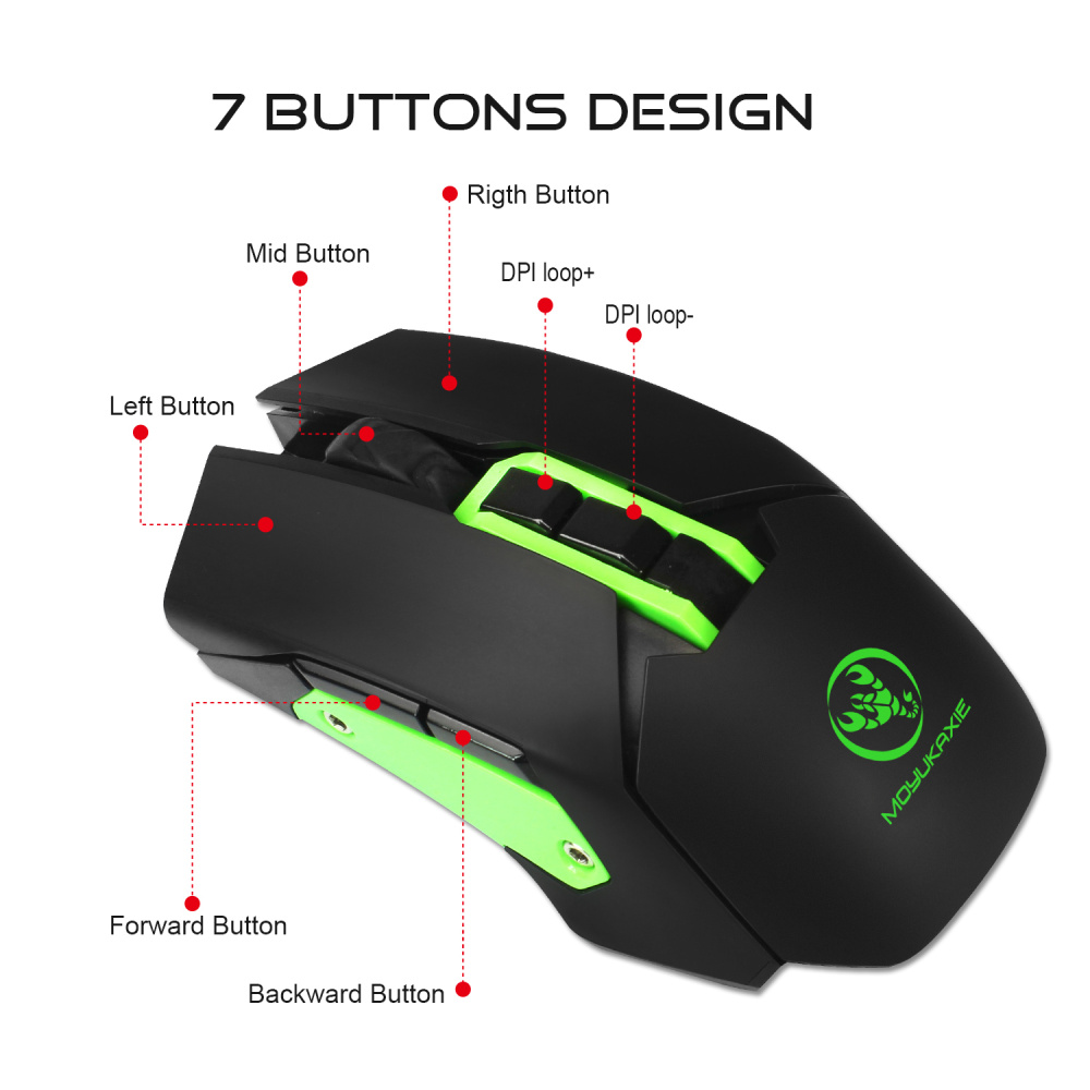 HXSJ wireless mouse 2 4G gaming mouse 4800 adjustable DPI rechargeable USB mouse player colorful backlight for PC notebook games in Mice from Computer Office