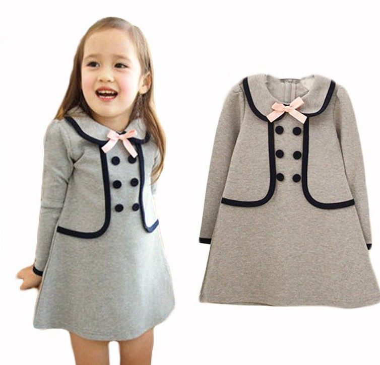 2016 New Brand autumn fashion baby girls dress full sleeve girl clothing toddler girl dresses cut kids dress for 2 3 4 5 7 years turtleneck 3 4 sleeve cut out midi dress