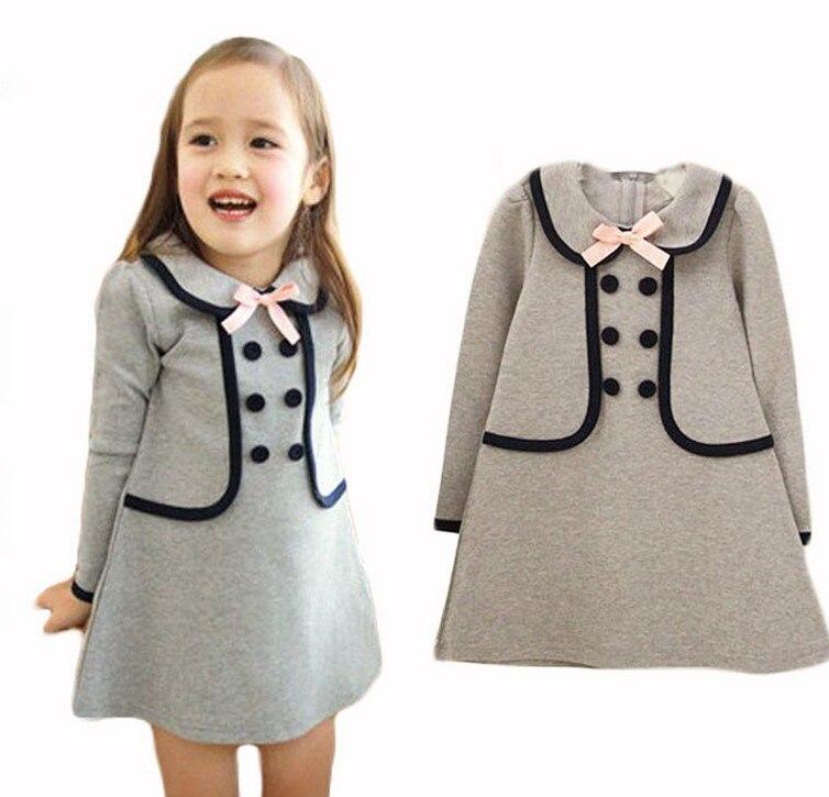 28f34c9fdf 2016 Nowy Marka moda jesień dziewczynek sukienka pełna rękaw dziewczyna  odzież dziewczyna maluch sukienki cut sukienka dla dzieci 2 3 4 5 lat