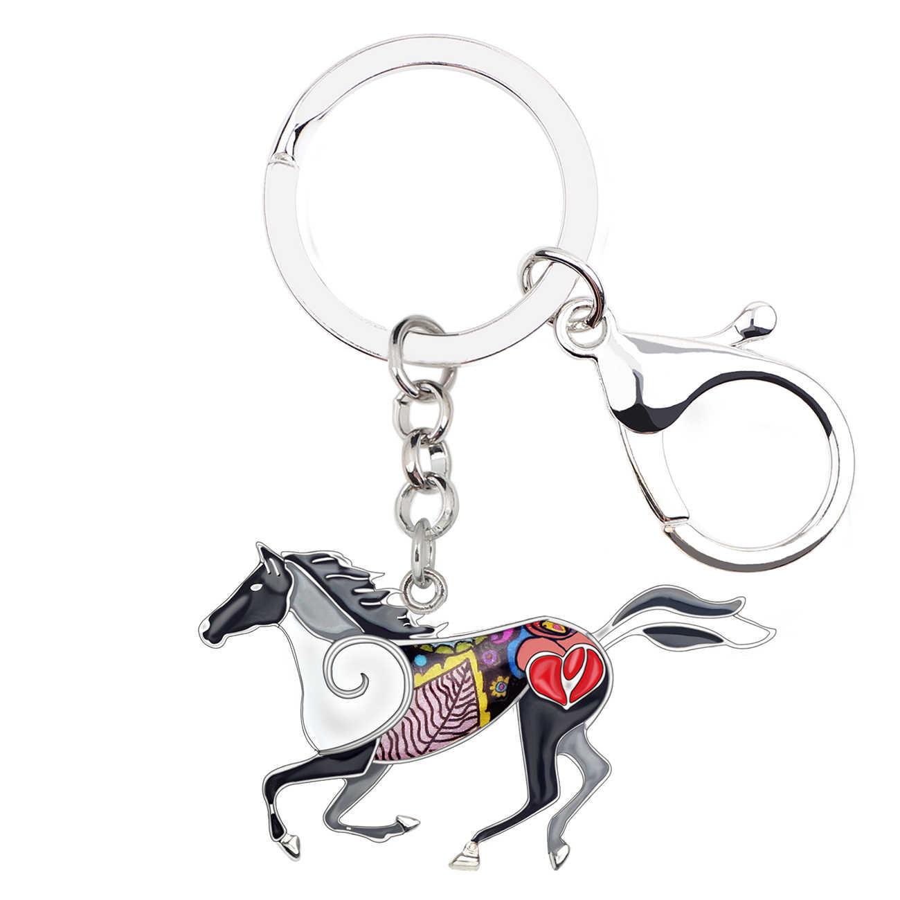 Bonsny émail alliage élégant cheval de course porte-clés porte-clés anneaux mode Animal bijoux pour femmes fille sac voiture pendentif breloques