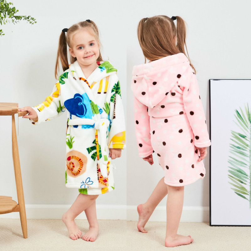 bb31af7231 Autumn Winter Children Bathrobes Cartoon Kids Robes Flannel Child Boys  Girls Robes Cute Hooded Pajamas for