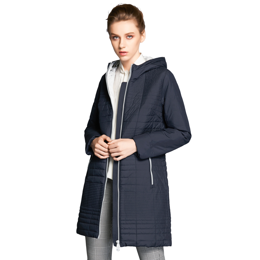 ICEbear 2018 Spring Autumn Long Cotton Women's Coats With Hood Fashion Ladies Padded Jacket Parkas For Women 17G292D scuwlinen 2017 winter coat women vintage slanting lapel handmade plate button loose wadded jacket long casual cotton padded w13