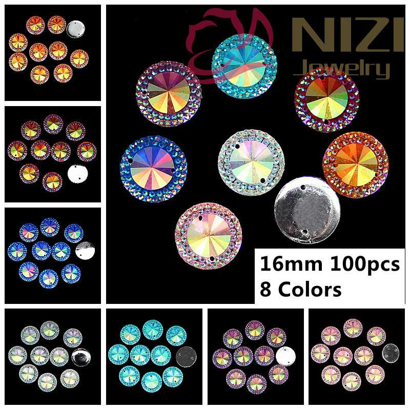 16mm 100pcs/lot Resin Rhinestones For Jewelry Making Decoration Sew On Cabochons Round Flatback Glue On Beads 7 Colors 748277 sew all 100