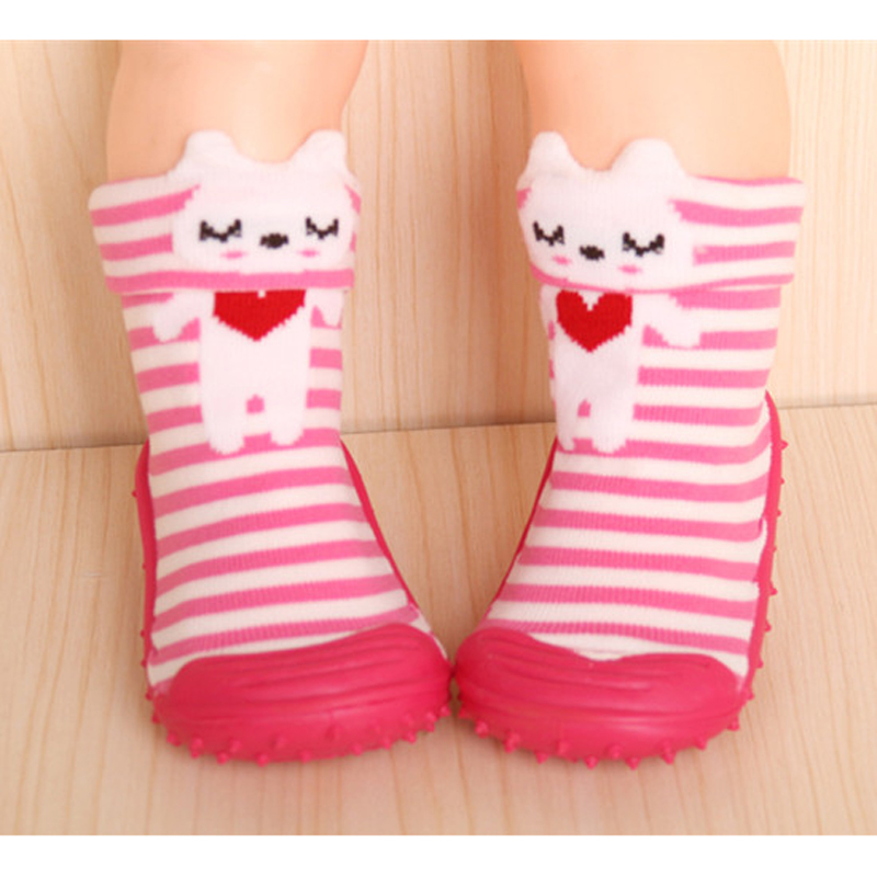 1Pair Cotton Cute Design Animal Image Baby Socks With Rubber Soles Floor Sock Non Slip Newborn Toddler Shoes Socks DS19