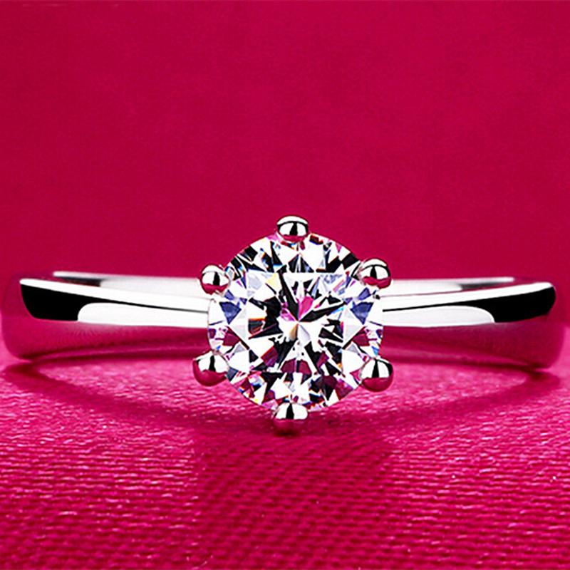 R350 Zircon Stone Wedding Rings Jewelry Classic Engagement Ring 6 Claws 5mm AAA Arrows CZ Anillos Bijoux Anel