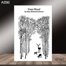 AZSG Towering trees cute Christmas deer Clear Stamps/Seal For DIY Scrapbooking/Card Making/Album Decorative Silicon Stamp Crafts