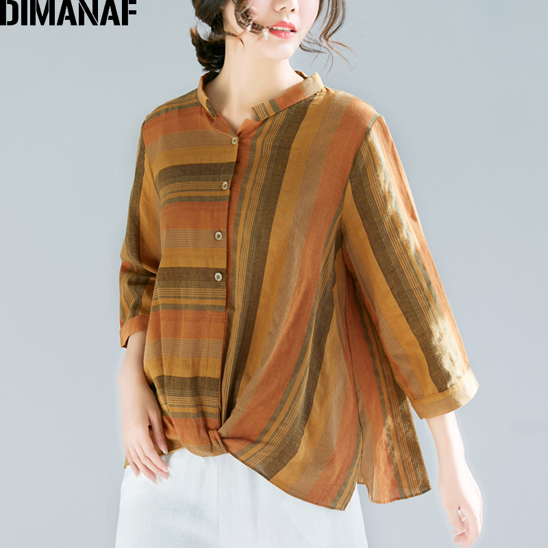 DIMANAF Plus Size Women Blouse Shirts Lady Tops Cotton Print Striped Vintage Large Loose Female Clothes 2109 Spring Summer M-4XL