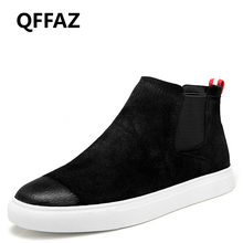 QFFAZ 2018 Suede Leather Winter Shoes Men Chelsea Boots Fashion Men's Boots men shoe Ankle Boots warm winter boots for men