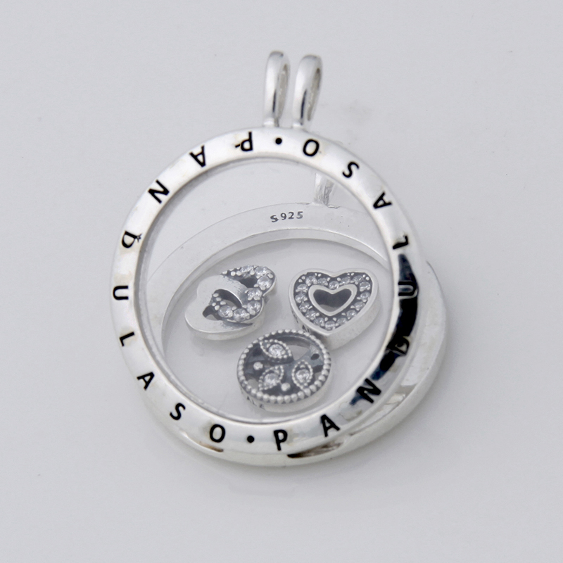 Pandulaso Love Family Petites Large Floating Locket Necklace Pendant for women DIY necklace 925 sterling silver