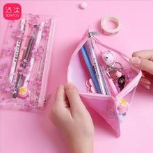 Korean Stationery Pencil-Case Blossoms Transparent Cherry Storage-Bag School Pink PVC