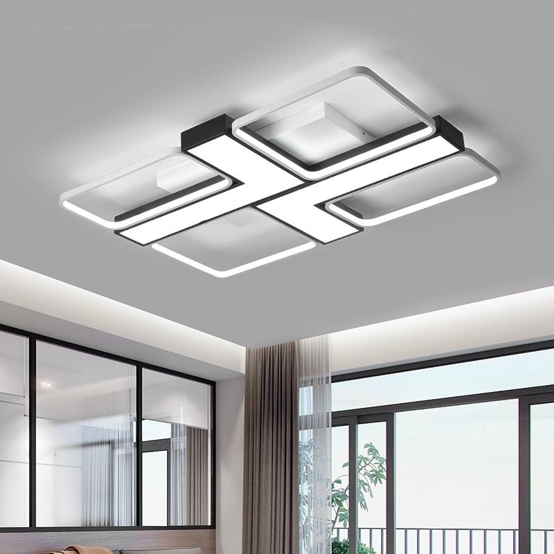 Nero/bianco acrilico lampadario rettangolare in alluminio soggiorno camera da letto balcone di casa AC85-265V moderno lampadario illuminazione a LEDNero/bianco acrilico lampadario rettangolare in alluminio soggiorno camera da letto balcone di casa AC85-265V moderno lampadario illuminazione a LED