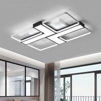 Schwarz/weiß acryl kronleuchter rechteckigen aluminium wohnzimmer schlafzimmer balkon hause AC85 265V moderne LED kronleuchter beleuchtung-in Kronleuchter aus Licht & Beleuchtung bei