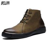 Real Leather Men Boots Autumn Winter With Fur Warm Snow Boots Male Footwear Leather Work Shoes Men Sneakers Rubber Ankle Shoes