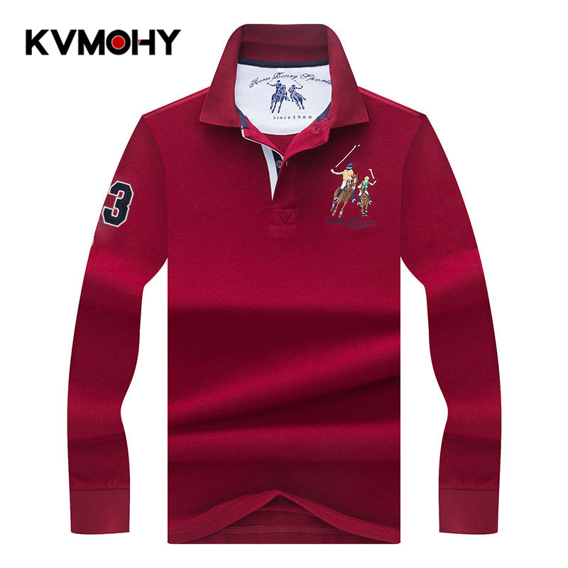 Men   Polo   Shirt Spring & Autumn High Quality Long Sleeve   Polo   Shirt Solid 3D Embroidery   Polos   Shirts Male Masculina Cotton Tops