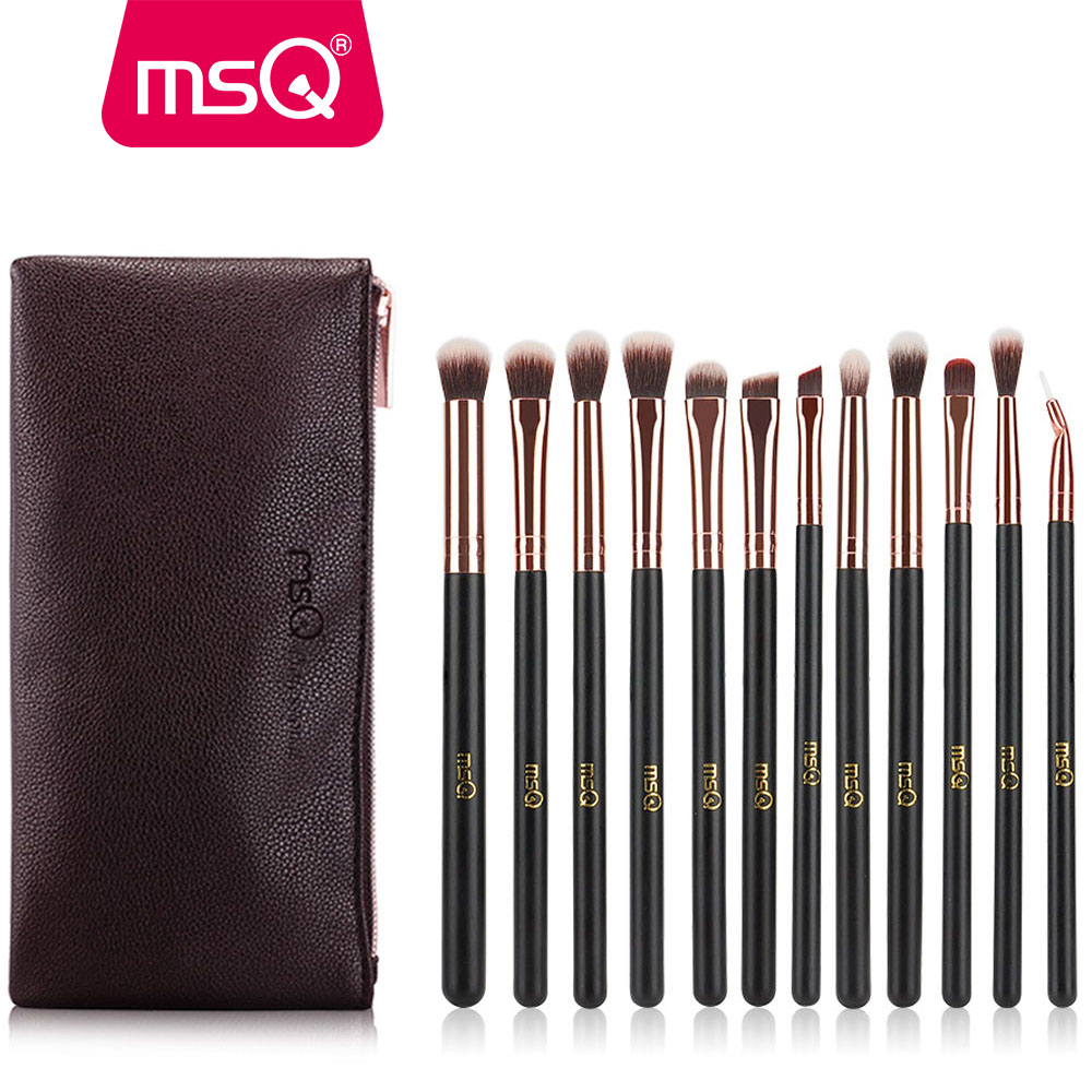 MSQ 12PCS Pro Eyeshadow Makeup Brushes Set Rose Gold Eye Shadow Blending Make Up Brush Soft Synthetic Hair For Beauty ...