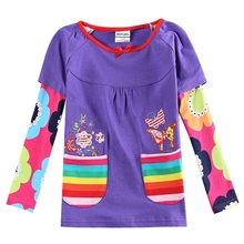 Girls long-sleeved T-shirt pocket embroidered cotton autumn new girls 2~8 years old children wearing long-sleeved shirt T-shirt