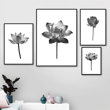 Black White Plant Flower Lotus Wall Art Canvas Painting Landscape Nordic Posters And Prints Pictures For Living Room Decor