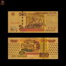 Billetes de papel de aluminio de color dorado y ruso, colección de dinero para regalos, 100 rublos en 24k