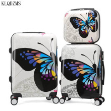 Suitcase Rolling-Luggage Travel Butterfly Spinner Bag-Wheel Trolley Carry-On Retro KLQDZMS