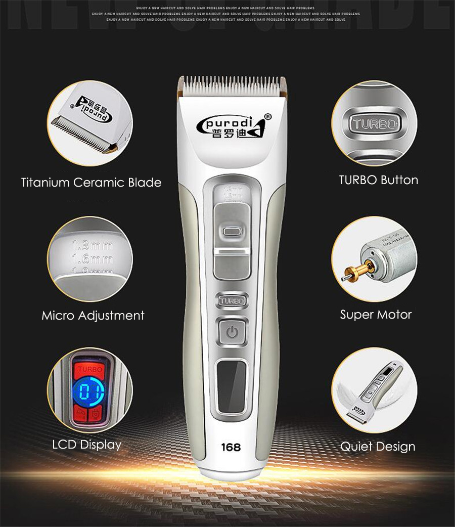 Baorun Professional Electric Hair Clipper Titanium Blade LCD