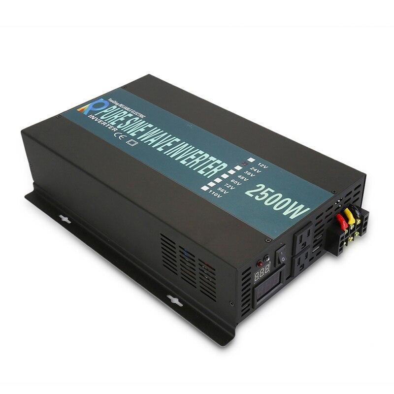 Onduleur à onde sinusoïdale Pure 24 V 220 V 2500 W convertisseur de batterie de générateur d'inverseur de panneau solaire 12 V/48 V/96 V DC à 120 V/230/240 V AC