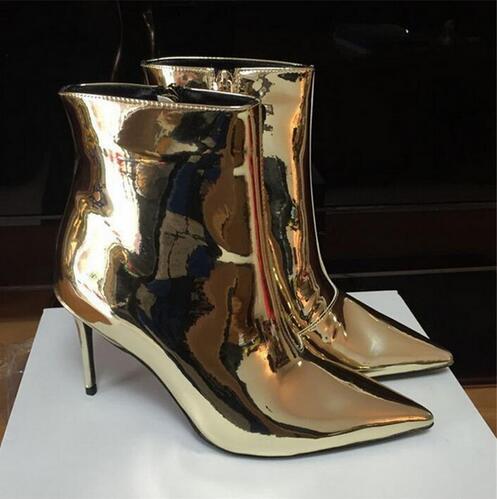 Silver Women Ankle Boots Pointed Toe High Heels Mirror Patent Leather Women Bootie Metallic Fashion Stiletto Short Botas Mujer stiletto metallic ankle strap heels