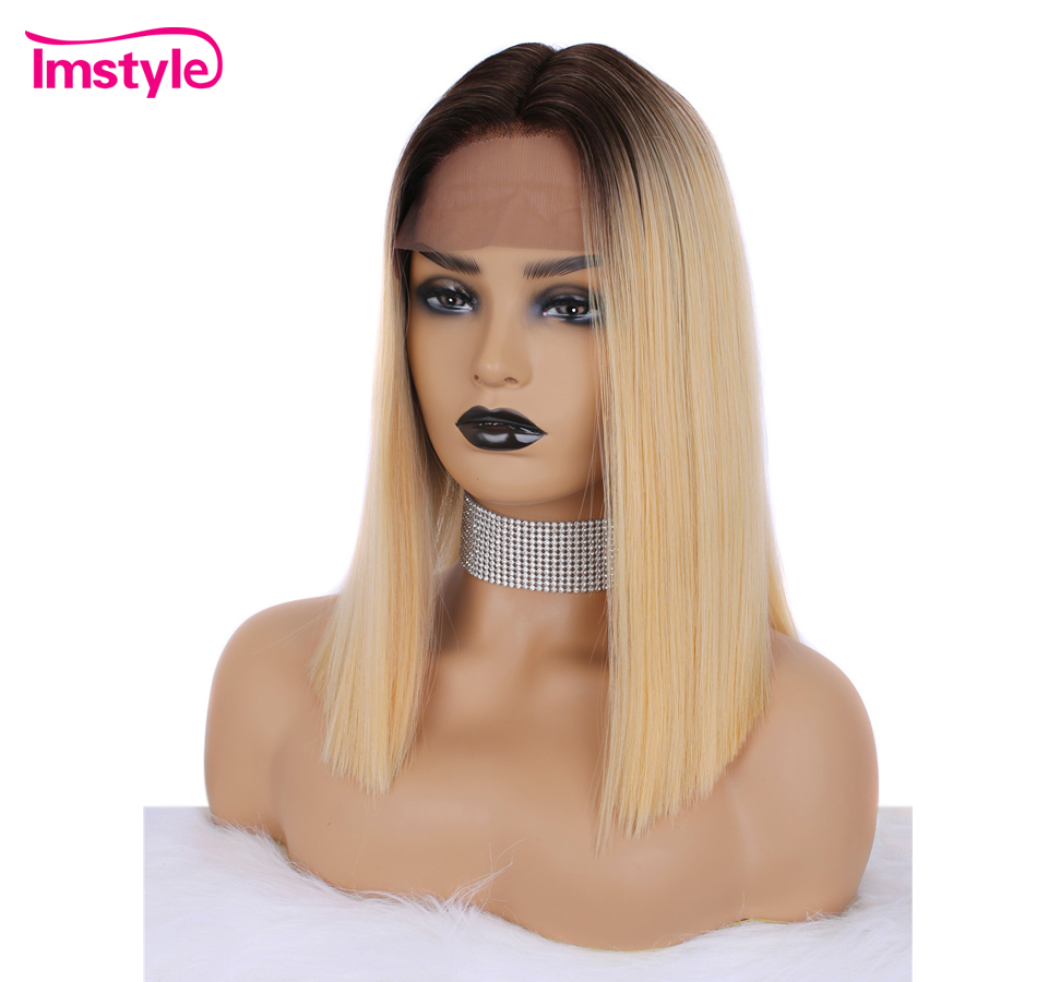 Imstyle Ombre Blonde Lace Front Wig Short Bob Straight Hair Synthetic Hair Wigs For Women Heat Resistant Fiber Cosplay Wig